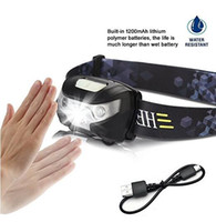 Wholesale Led Body Flashlight - LED Headlamp,Body motion sensor Headlamp Flashlight USB Rechargeable Portability Waterproof Super Bright for Running Reading, Outdoor and Ch