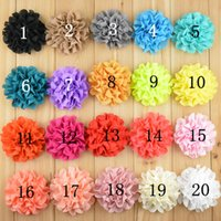 "Wholesale Eyelet Chiffon Flower Headband - 300pcs lot 2016 New 3"" Lace Eyelet Flower kids hair accessories Fabric Chiffon Flowers for headbands Free Shipping"