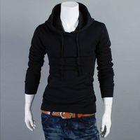 koreanische marke trainingsanzug großhandel-Winter-koreanische Herrenmode Solid Slim Sweatshirt Marke Herren Langarm Casual Hooded Hoodies mit Longline Trainingsanzug Tops