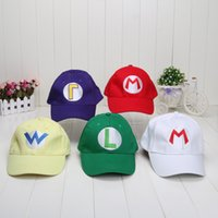 Wholesale-10pcs ajustable Super Mario Bros Béisbol Hat Gorras Rojo Verde Violeta Amarillo Blanco 5 colores