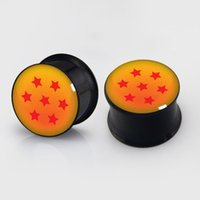 Wholesale 6mm Stainless Steel Balls - wholesale 6mm-16mm seven Star Balls plugs steel anodized black ear plug gauges flesh tunnel ear expander 60pcs lot BDP018