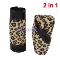 1 X 2 in 1 Leopard Print Hook Loop Fastener Manopola di azionamento dell'automobile Coperchio del freno a mano