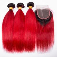 düz kırmızı saç uzantıları toptan satış-Ombre Renk Ipeksi Düz saç 1B kırmızı Dantel Kapatma Ile 3 Demetleri Koyu Kök Yakut Kırmızı Saç Uzantıları Ile Dantel Kapatma