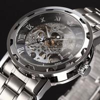 Wholesale hour hand men - Best Selling Winner Brand Male Gold Skeleton Hours Relojes Man Men Full Steel Mechanical Hand Wind Watches Whatch
