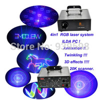 Wholesale Animation Laser System - Wholesale-Free shipping newest Animation 3D 4in1 1000mW RGB animation laser show system lazer luz show