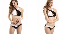 Wholesale Sexy Biniki - 2016 Newest woman Bikinis sexy swimsuit close-fitting High elastic Black and white color matching cross biniki Beach Bikinis free shipping