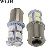 Wholesale led front turn signal - WLJH Automotive led S25 1156 13 SMD 5050 12V brake tail light led Lighting indicator lights Stop Light Auto Lamp Bulb