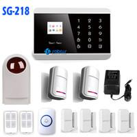 système de sécurité à domicile achat en gros de-APP contrôle sans fil intelligent bouton tactile écran couleur TFT GSM + PSTN GSM système ALARME sans fil sécurité domestique SG-218