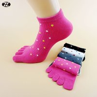 Wholesale Cute Toe Socks For Women - Wholesale-women toe Socks 100% Cotton summer Lolita Style Breathable Five Finger Socks Cute dot calcetines Casual socks for women