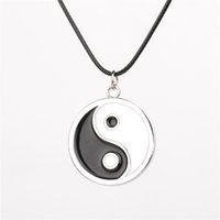 Wholesale tai chi pendants - Chinese Tai Chi Logo Pendant necklace Anime Naruto Neji yin yang ying yan enamel black and white Necklaces Cosplay Accessories Jewelry