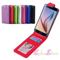 Wholesale Vertical Wallet Id - For Galaxy S6 Leather Vertical Up and Down Open Case ID Credit Card Holder Photo Frame Flip For Samsung S6 Cover