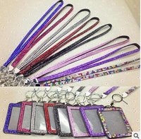 200pcs Bling Lanyard cristal strass en col avec support Claw Fermoir ID Badge avec carte de travail