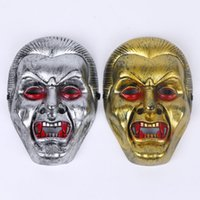 Wholesale Halloween Costumes For Zombies - Halloween Masquerade Terror Mask Gold Silver PVC Vampire Zombie Performance Mask Bar Party Dance Cosplay Costume Decoration 12pcs lot SD392