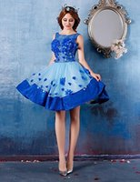 Wholesale Mini Flowers Royal Blue - 2016 New Big Discount Cute Fashion Homecoming Cocktail Party Dresses Ball Gown Royal Blue Scoop Flower(s) Lace Up Short Mini Organza Dress