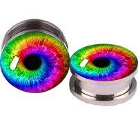 gefälschte ohrstöpsel großhandel-Farbe Augen Logo Ear Plug Tunnel 5-16mm Piercing Expander Gefälschte Ohr Plug Tunnels Ohrringe Ohr Gauges Plugs Body Piercing