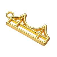 Wholesale Floating Bridge - Good Qulaity 50pcs a lot Zinc Alloy Antique Silver&Gold Floating Golden Gate Bridge Pendant Charms For Living Locket DIY Jewelry