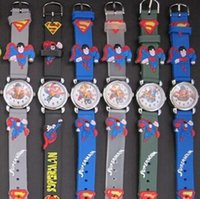 Wholesale 3d Cartoon Watches For Kids - Fashion Cartoon Superman 3D Quartz Wristwatches Kids Silicone China Jewelry Watch For Children Christmas Birthday Gift Free Shipping