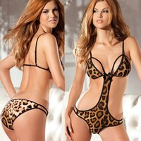 Wholesale Crotchless Leopard - w1023 Women's Sexy Lingerie Lace Open Breasts Bra Crotchless Underwear Teddy Nightwear Leopard intimates sex products hot Wholesale