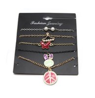 Wholesale plastic bow charms - Shellhard Crystal Star Moon Arrow Bracelets Vintage Pearl Heart Bow Bracelet Set Wrist Chain Pulseras Mujer Jewelry For Women