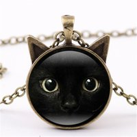 Wholesale Black Glass Paint - 2017 painting black cat Necklace for pet lovers Cat Pendant with two ears Jewelry Glass Cabochon girl's Gift for her HZ2