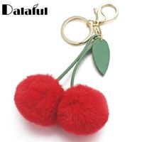 Wholesale Cherries Pendants - beijia Cute Cherry Artificial Rabbit Fur Ball Keychain Keyring Pompom Leaf Handbag Pendant Car Key Chian Ring Holder K347