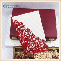 Wholesale Gift Flowers Wedding Invitations - 50PCS Free shipping Laser Cut Paper Lace Flowers Rose Pattern Hollow Out Business Party Wedding Invitations Cards with Inner Blank Sheet