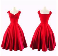 vestidos casuales de inspiración vintage al por mayor-Vintage Audrey Hepburn estilo mujer vestidos casuales inspirados Rockabilly Swing vestidos de fiesta de noche para las mujeres más el tamaño OXL081701