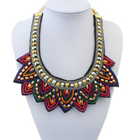Wholesale Tibetan Style Pendants China - Statement Necklace Nepal Tibetan Style Resin Bead Bohemian Necklaces Pendants Vintage Handmade Braided Colorful Bead Bib Collar Necklace