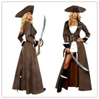 Wholesale Sexy Costumes Pirates - Cosplay Sexy Pirate Costumes For Women Deluxe Pirate Captain Costume White Dress Rhinestone Belt Sword Uniforms Outfits O28039