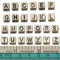 Wholesale Heart Alphabet Bead - retro silver alphabet beads charms european pandora bracelets diy large hole necklaces loose alloy letters jewelry accessories 7*7mm 260pcs