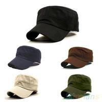 gorras de cadetes del ejército al por mayor-Al por mayor-Nuevas Mujeres Hombres Moda Verano Ajustable Ejército Clásico Llano Vintage Sombrero Cadete Cap 2IG1