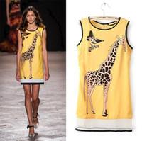 nova girafa venda por atacado-New Fashion 2014 Verão Womens Casual vestido de chiffon mangas Giraffe Imprimir Net Fios emenda Mini vestidos frete grátis WQW261