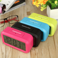 Wholesale Time Date Temperature Led Clock - LED Digital Alarm Clock Repeating Snooze Light-activated Sensor Backlight Time Date Temperature Display Blue Black Red Green, dandys