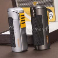 Wholesale Windproof Cigar Torch Lighter - Wholesale-COHIBA Gadgets Pocket Fashion Qualtiy Metal Refillable Windproof 3 Torch Jet Flame Gas Cigarette Cigar Lighter W  Cigar Punch