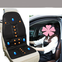 Wholesale Motor Seat Covers - 12V Massage and Heating Car Seat Covers Universal Fit SUV sedans Chair Pad Cushion antiskid with 5 Motor Body Driving
