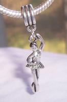 dansçı takılar toptan satış-Sıcak ! 100 adet Antiqued Gümüş Bale Dancer Balerin Hediye Dans Dangle Boncuk Avrupa Charm Bilezikler 44mm x 10mm uyar