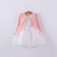 Wholesale Long Sleeve Baby Girl Vests - 2015 New style baby girls outfits cotton long sleeve lace shirt + mesh vest dress 2ps suit High quality