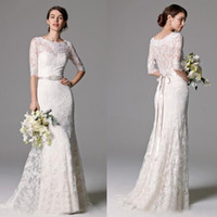 Wholesale Bridal Dress China Mermaid - Elegant 2016 New White Full Lace Mermaid Wedding Dresses Modest Jewel Half Sleeve With Beads Sash Bridal Gowns Custom Made China EN2191