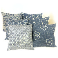case decore - Japan vintage geometric flower pillow almofadas case for seat chair bed blue cushion cover oriental home decore