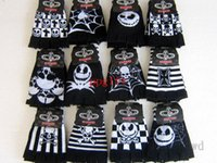 Wholesale Nightmare Before Christmas Gloves - Free Shipping EMS Wholesale 100 Pairs Skull lattice nightmare before Christmas Warmer gloves