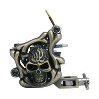 Wholesale Gun Skull Tattoos - Skull Tattoo Machine Iron Tattoo Machine 10 Wraps coil stainless steel Tattoos Body Art Gun Makeup Tool 1101303-1