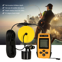 Wholesale Wholesale Fish Depth Finders - Free shipping Portable Fish Finder Sonar Wired LCD Fish Sonar Sounder Depth Finder Alarm New 100M Electronic Fishing Tackle Bait Tool