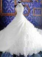Wholesale Collar Neckline Wedding Dress - 2017 Wedding dresses Real Picture Amazing High neckline Lace Cathedral train Bridal Gowns