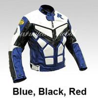 Wholesale Race Leather Jacket - Wholesale-Men PU Leather Motorcycle Jacket Windproof Auto Leather Racing Jacket Moto Blue Black Red S M L XL XXL XXXL for Sale