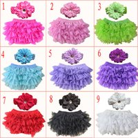 Wholesale girls flower underwear online - 9 Colors Baby Girls lace Ruffle Bloomer Headband Set TUTU underwear flowear Headwear Infant cake bloomers shorts pants diaper covers