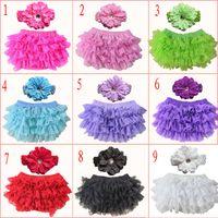 bebek ruffled bloomer setleri toptan satış-9 Renkler Bebek Kız dantel Fırfır Bloomer Kafa Seti (TUTU iç çamaşırı + çiçek Şapkalar) Bebek kek olgunlaşanlar şort pantolon bezi kapakları