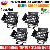 Atacado-4pcs / Lot New Led Wall Washer Luz, 24pcs 10W 4IN1 RGBW / RGBY mistura de cores Led Washer Luz de Palco, DMX 512 8 Canais Use Indoor