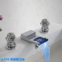 Wholesale Led Water Spout - AZOS Square Spout LED 3 Color Change Chrome Waterfall Widespread 3 Hole Deck Mounted Hot & Cold Water Mixer Sink Tap Bathroom Basin Faucets