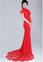 Wholesale Gold Cheongsam Wedding Dress - 2015 high quality new design Evening Dresses Red lace backless High Colar Short Sleeves Open Back Lace Sheath Cheongsam Wedding Dresses
