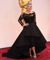 Wholesale Lavender Long Sleeved Evening Gowns - 2015 Oscar Kelly Osbourne Celebrity Dress Long Sleeved Lace Scallop Black High Low Red Carpet Sheer Evening Dresses Black Ball Gown cheaper